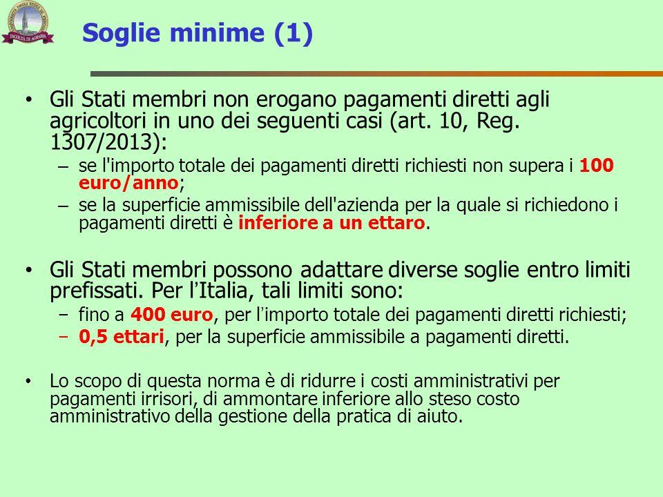Soglie minime (1) Gli Stati membri non erogano pagamenti diretti agli agricoltori in uno dei seguenti casi (art. 10, Reg. 1307/2013):