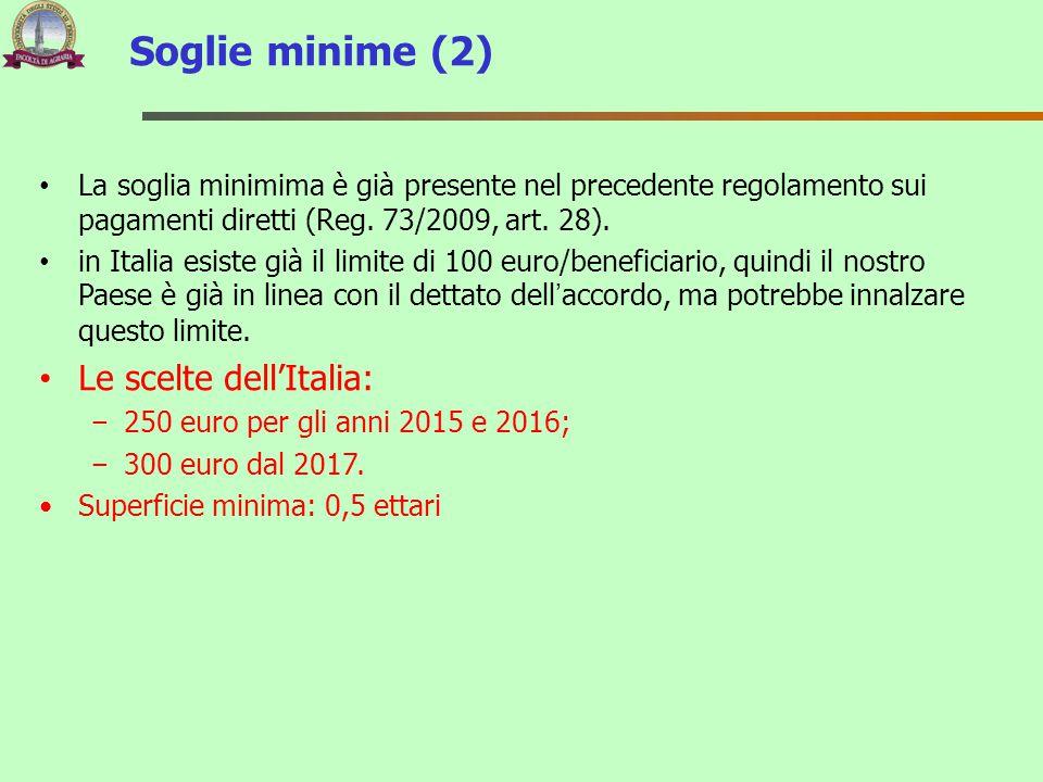 Soglie minime (2) Le scelte dell'Italia: