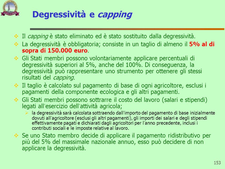 Degressività e capping