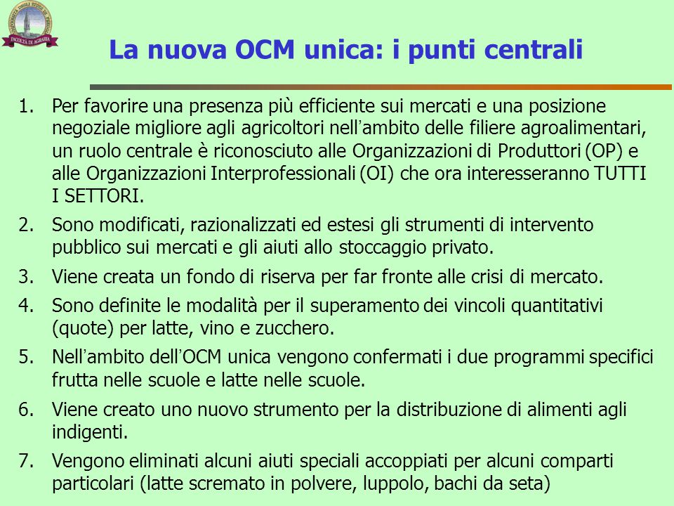 La nuova OCM unica: i punti centrali