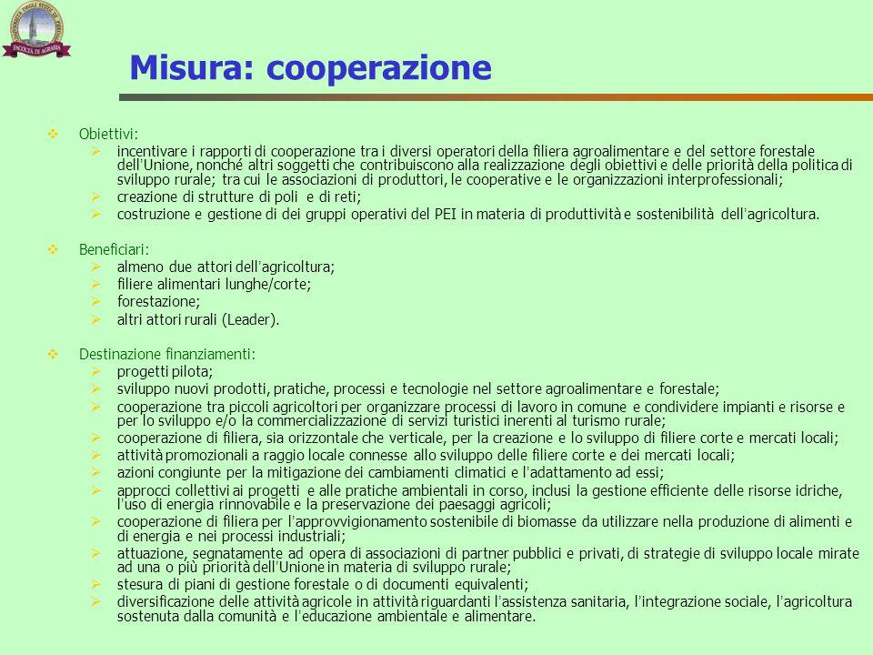 Misura: cooperazione Obiettivi: