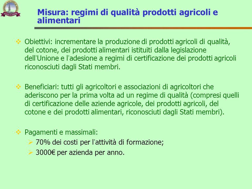 Misura: regimi di qualità prodotti agricoli e alimentari
