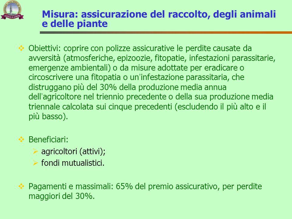 Misura: assicurazione del raccolto, degli animali e delle piante