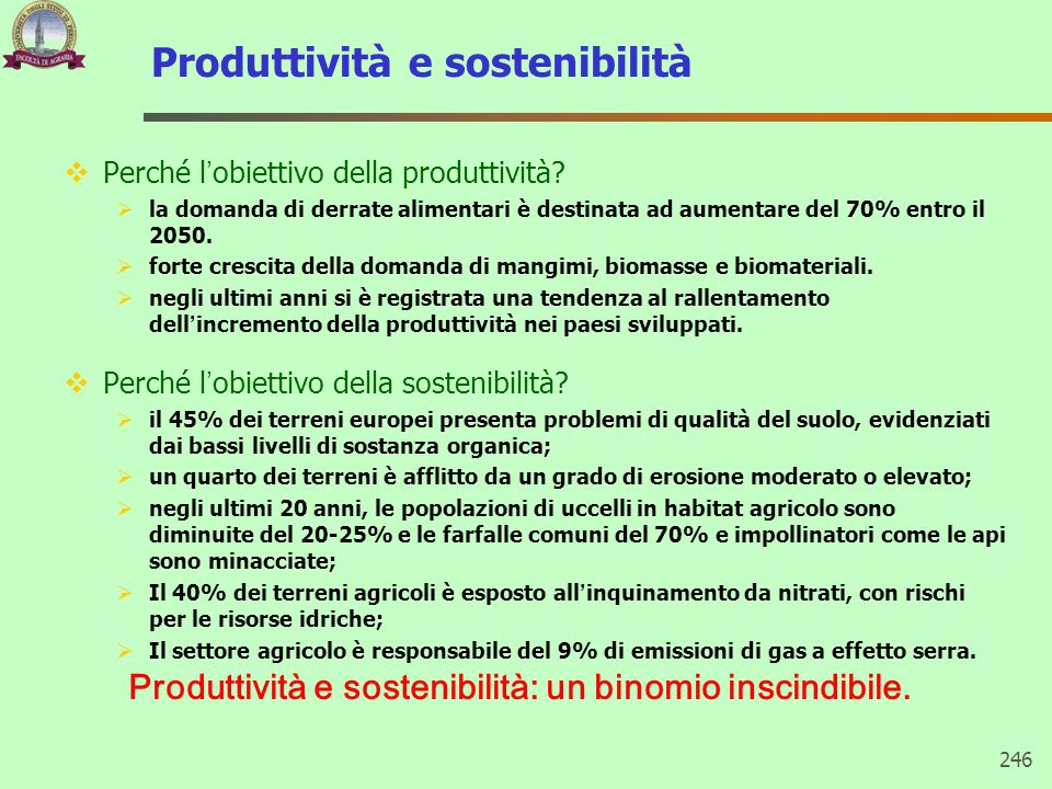 Produttività e sostenibilità