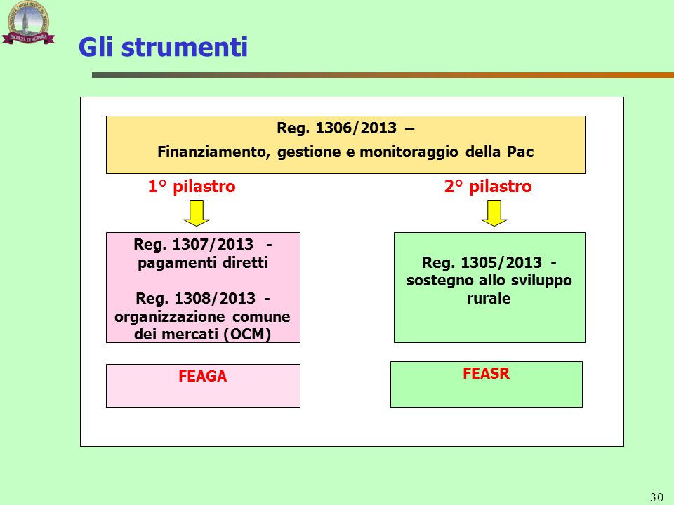 Gli strumenti 1° pilastro 2° pilastro Reg. 1306/2013 –
