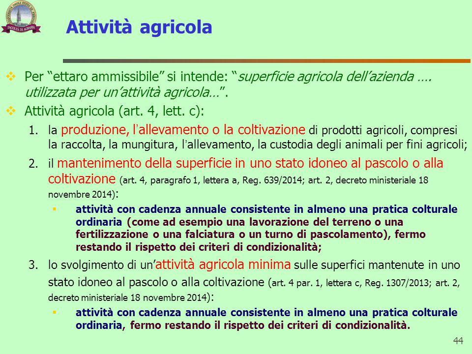 Attività agricola Per ettaro ammissibile si intende: superficie agricola dell'azienda …. utilizzata per un'attività agricola… .