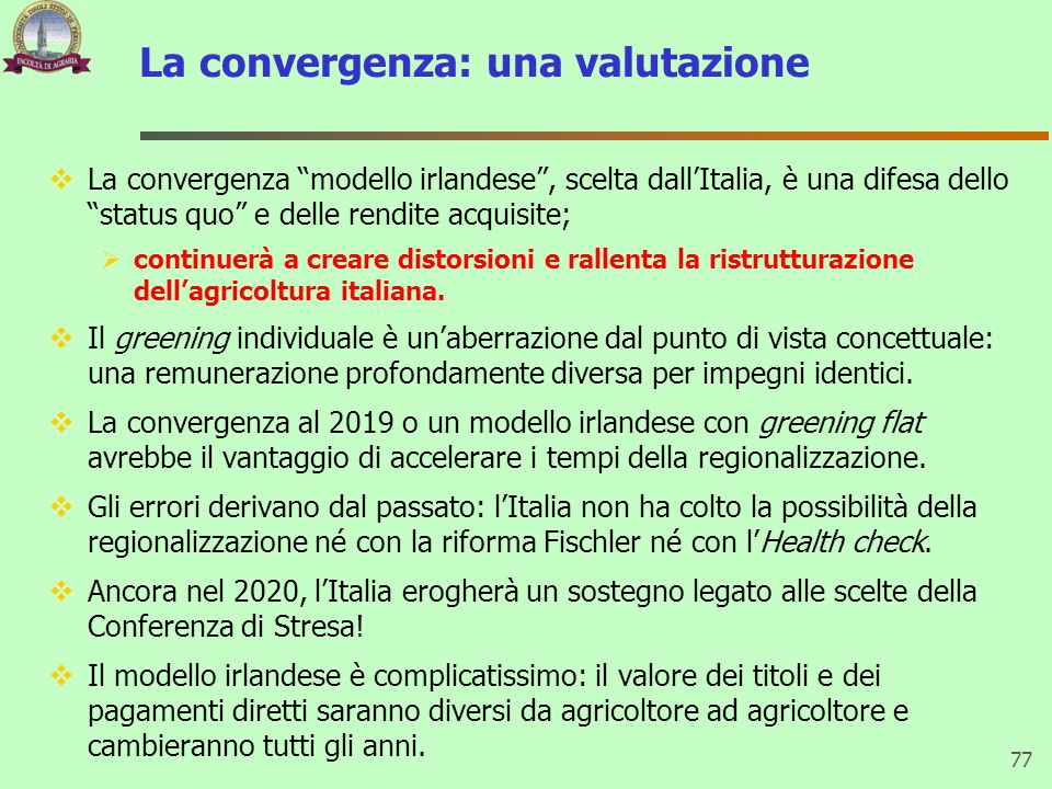 La convergenza: una valutazione
