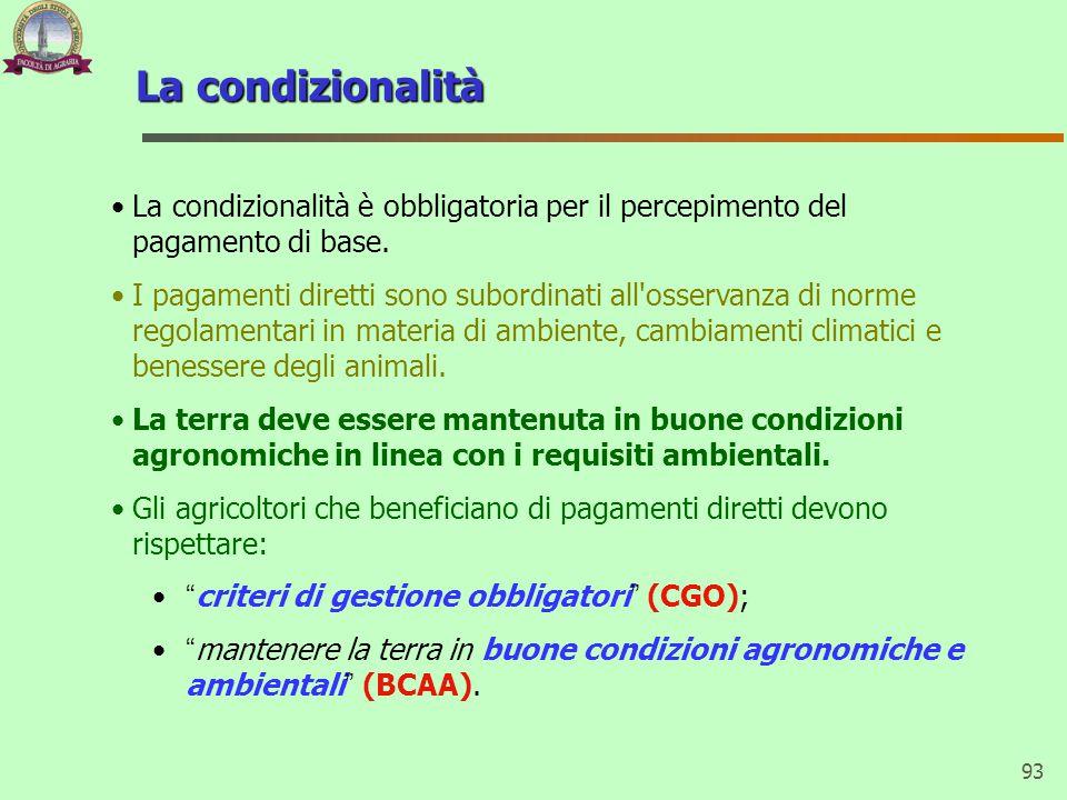 La condizionalità La condizionalità è obbligatoria per il percepimento del pagamento di base.