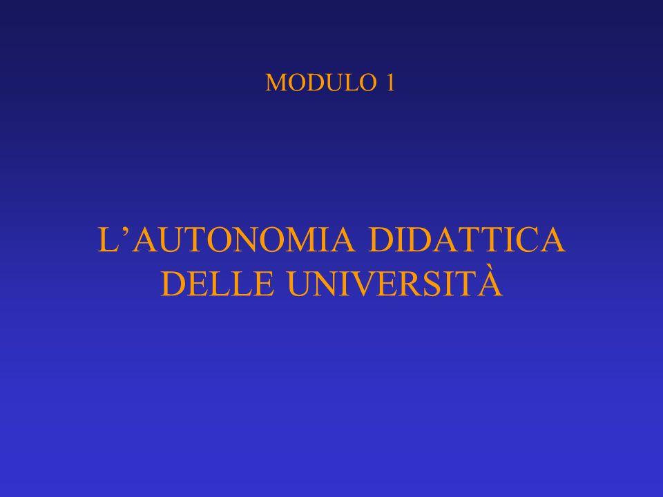 MODULO 1 L'AUTONOMIA DIDATTICA DELLE UNIVERSITÀ
