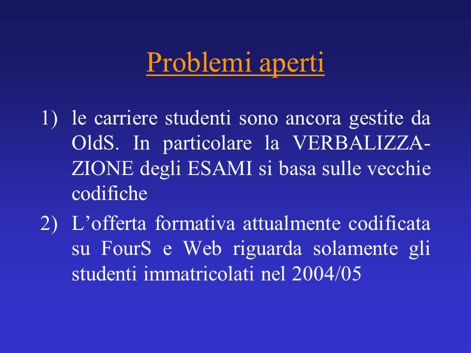 Problemi aperti le carriere studenti sono ancora gestite da OldS. In particolare la VERBALIZZA- ZIONE degli ESAMI si basa sulle vecchie codifiche.