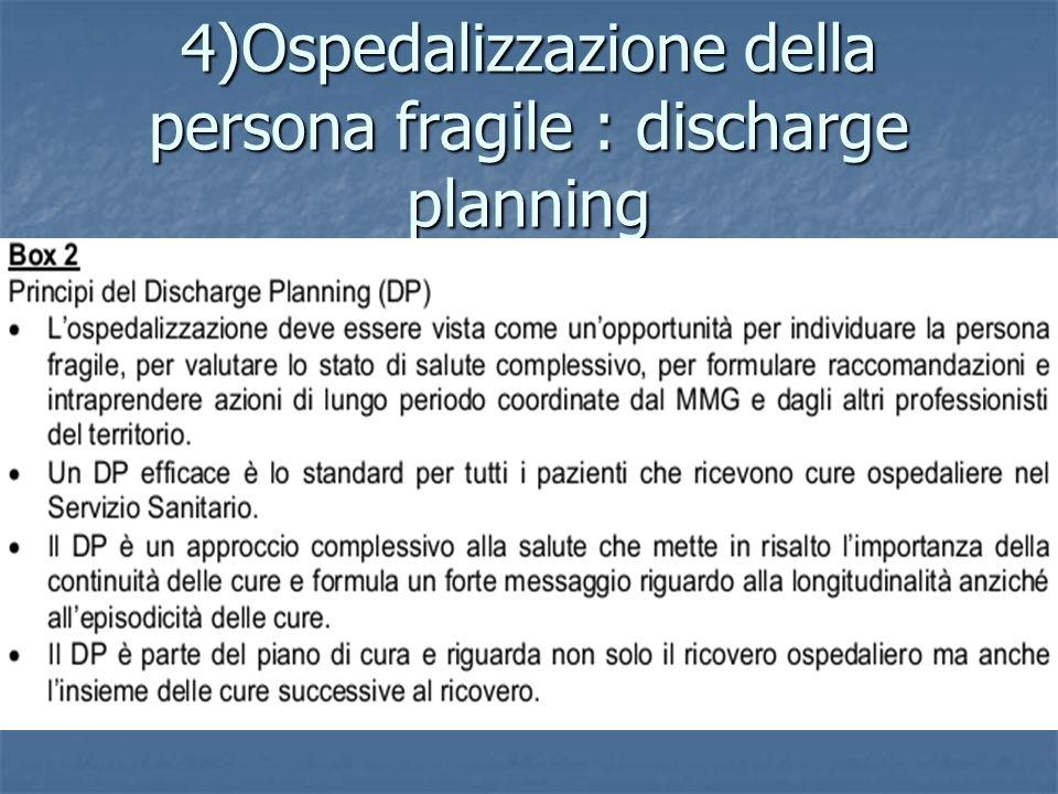 4)Ospedalizzazione della persona fragile : discharge planning
