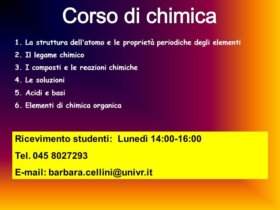 Corso di chimica Ricevimento studenti: Lunedì 14:00-16:00