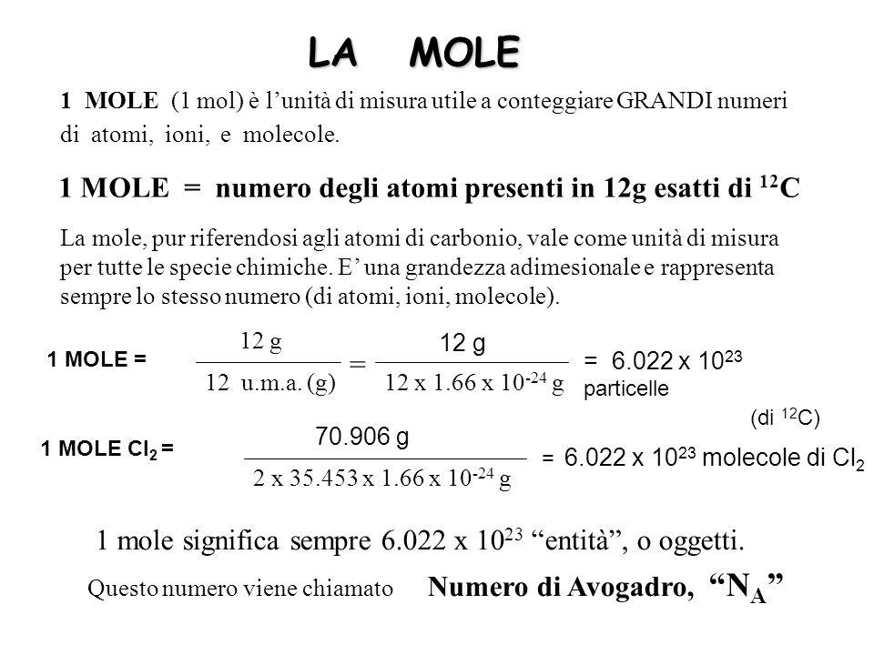 LA MOLE 1 MOLE = numero degli atomi presenti in 12g esatti di 12C =