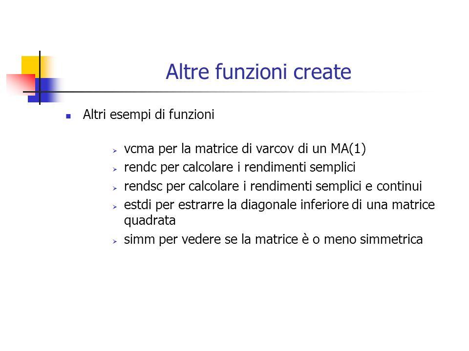 Altre funzioni create Altri esempi di funzioni