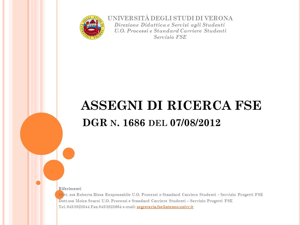ASSEGNI DI RICERCA FSE DGR n. 1686 del 07/08/2012