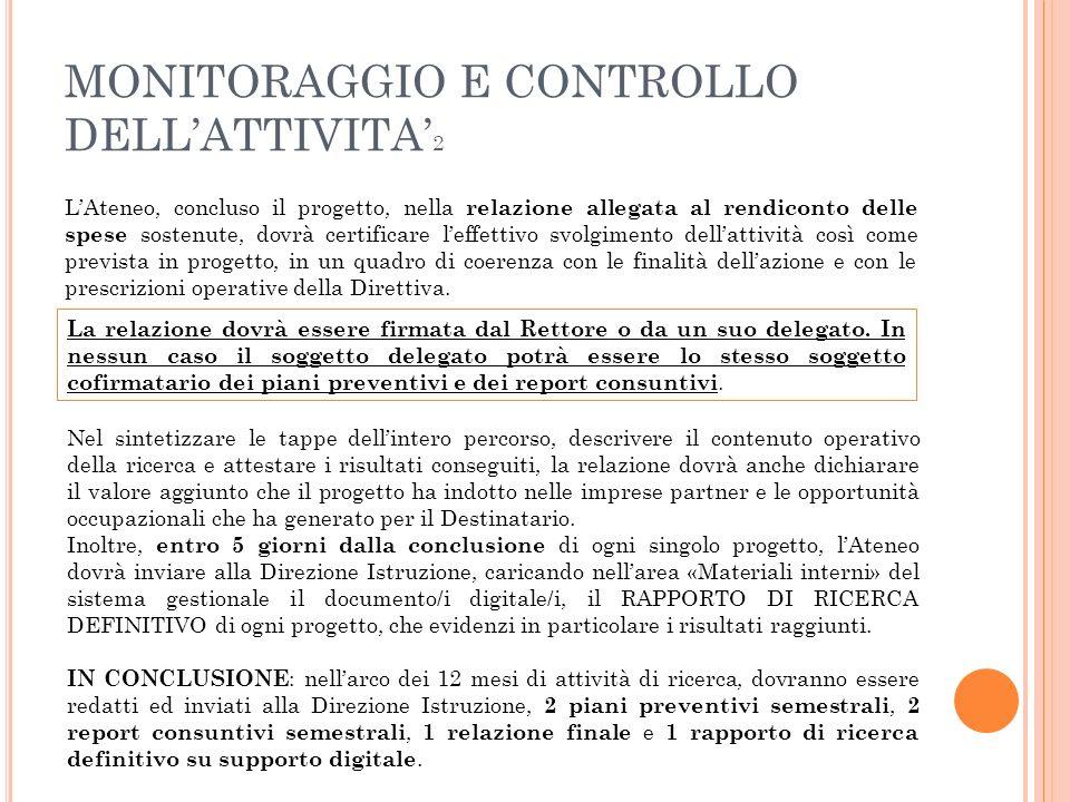 MONITORAGGIO E CONTROLLO DELL'ATTIVITA'2
