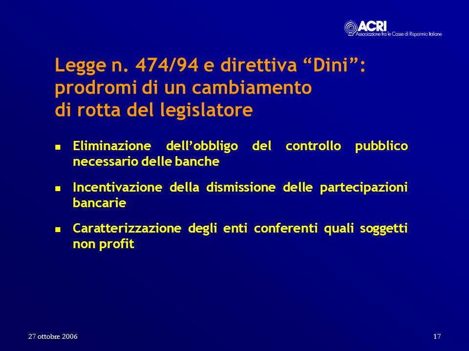 27 ottobre 2006 Legge n. 474/94 e direttiva Dini : prodromi di un cambiamento di rotta del legislatore.