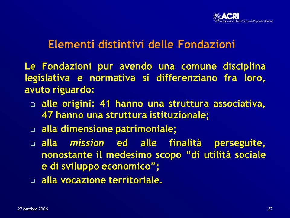 Elementi distintivi delle Fondazioni