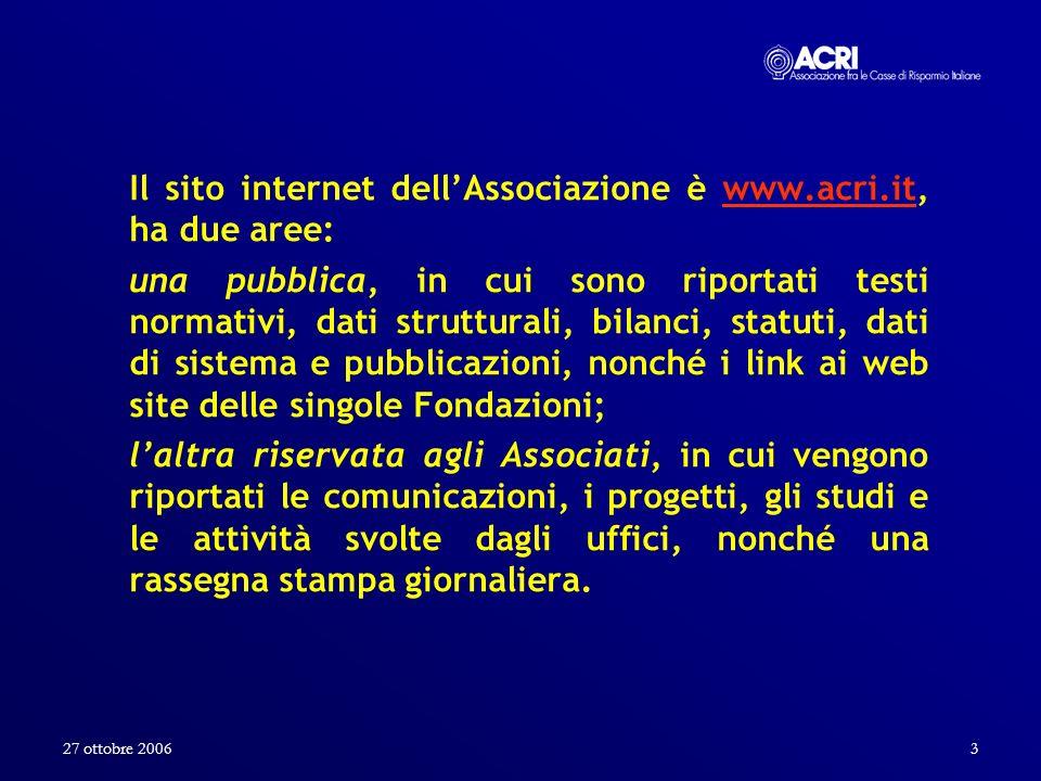 Il sito internet dell'Associazione è www.acri.it, ha due aree: