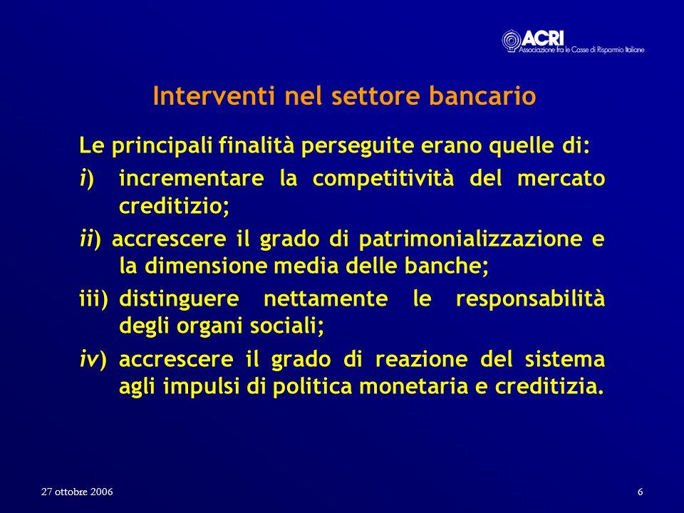 Interventi nel settore bancario