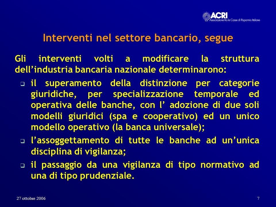 Interventi nel settore bancario, segue