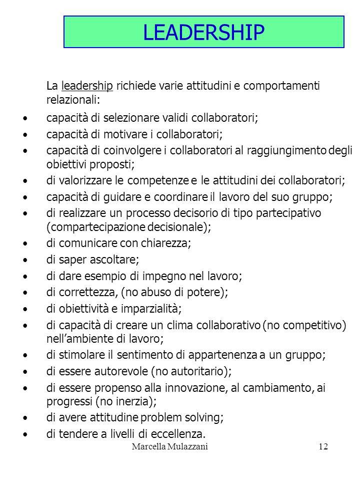 LEADERSHIP capacità di selezionare validi collaboratori;