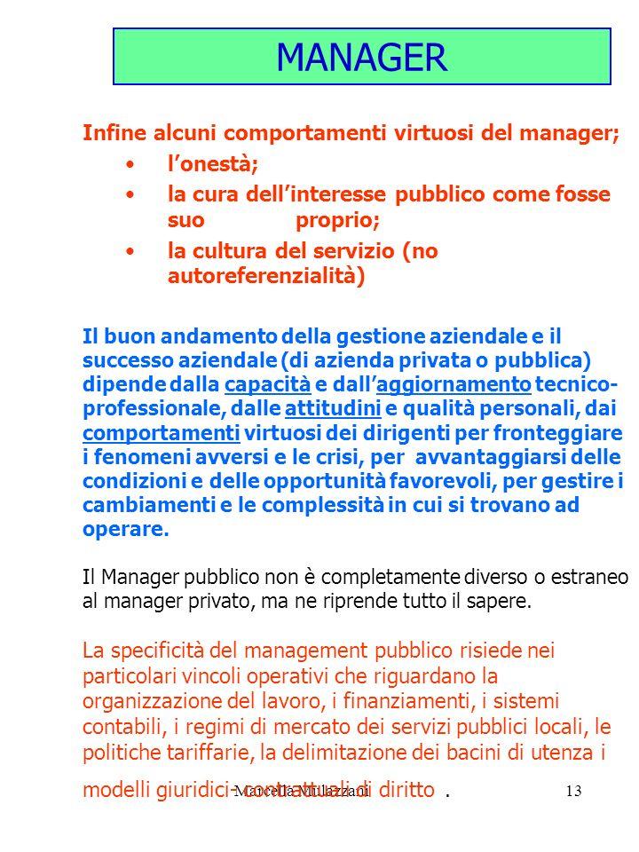 MANAGER Infine alcuni comportamenti virtuosi del manager; l'onestà; la cura dell'interesse pubblico come fosse suo proprio;