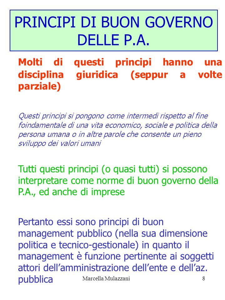 PRINCIPI DI BUON GOVERNO DELLE P.A.