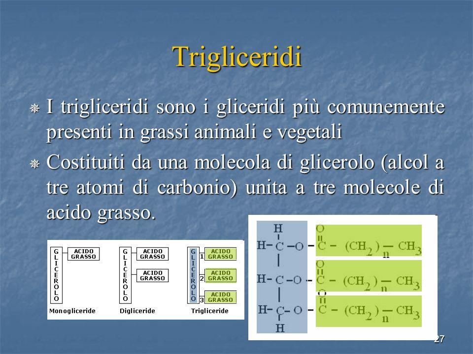Trigliceridi I trigliceridi sono i gliceridi più comunemente presenti in grassi animali e vegetali.