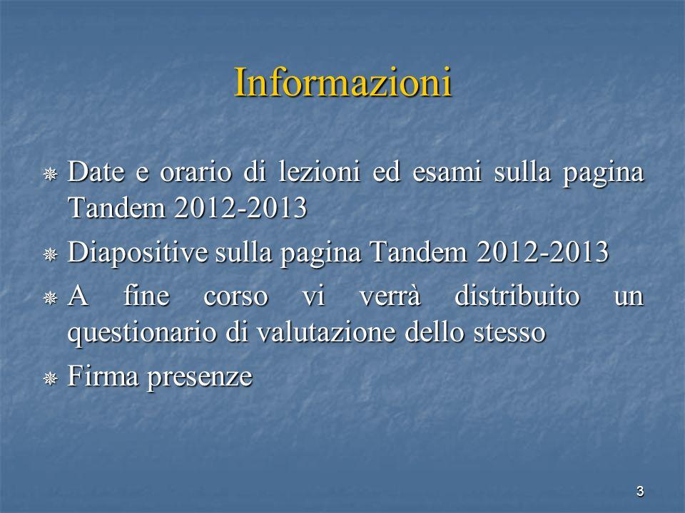 InformazioniDate e orario di lezioni ed esami sulla pagina Tandem 2012-2013. Diapositive sulla pagina Tandem 2012-2013.