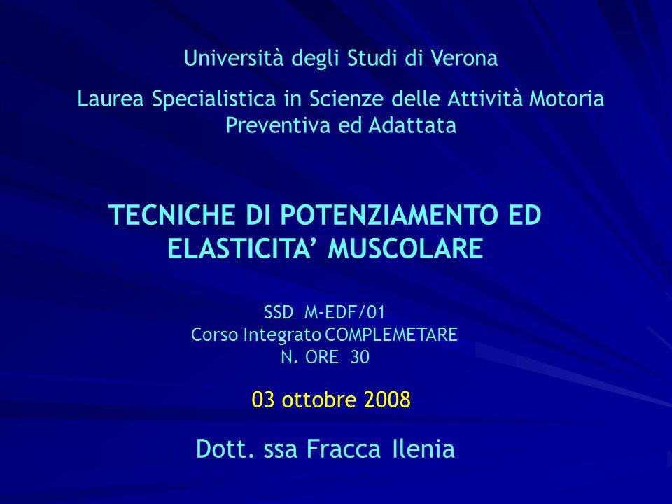 03 ottobre 2008 TECNICHE DI POTENZIAMENTO ED ELASTICITA' MUSCOLARE
