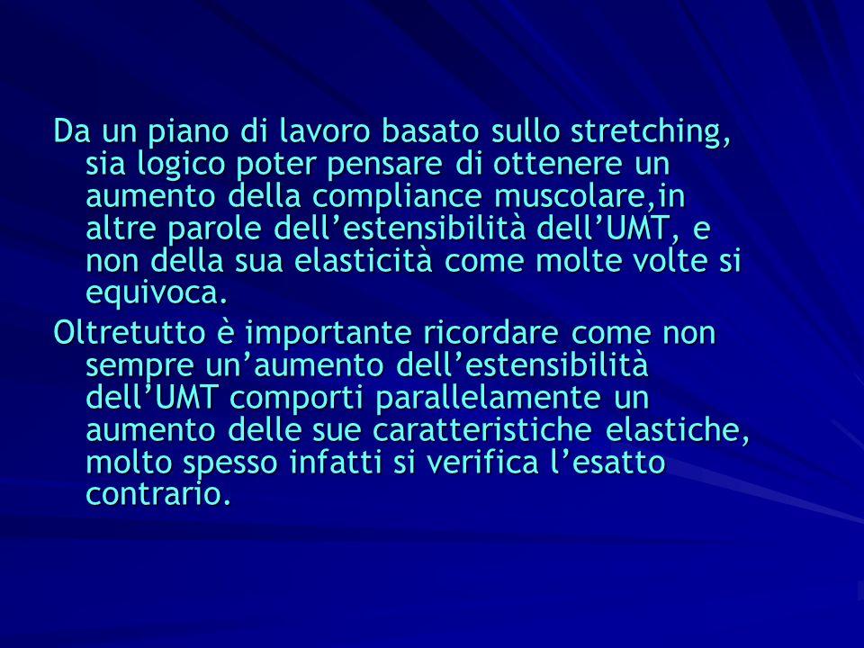 Da un piano di lavoro basato sullo stretching, sia logico poter pensare di ottenere un aumento della compliance muscolare,in altre parole dell'estensibilità dell'UMT, e non della sua elasticità come molte volte si equivoca.