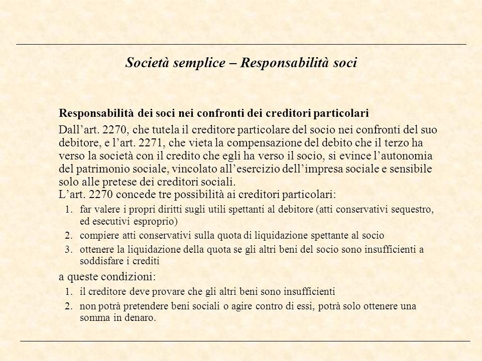 Società semplice – Responsabilità soci