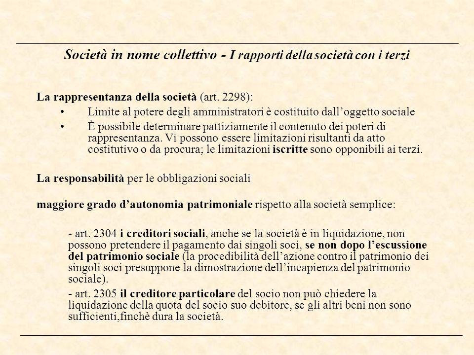 Società in nome collettivo - I rapporti della società con i terzi