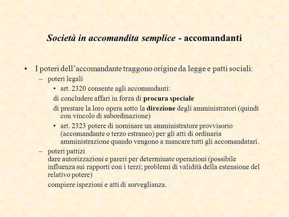 Società in accomandita semplice - accomandanti