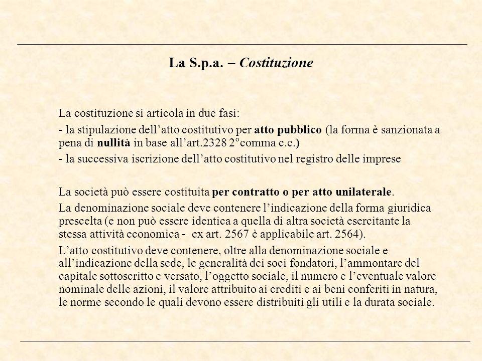 La S.p.a. – Costituzione La costituzione si articola in due fasi: