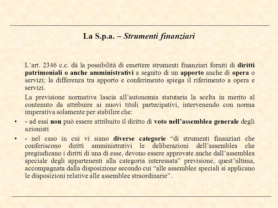 La S.p.a. – Strumenti finanziari