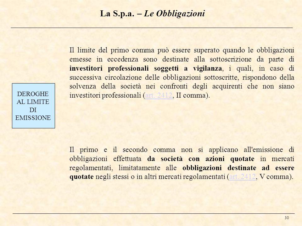 La S.p.a. – Le Obbligazioni