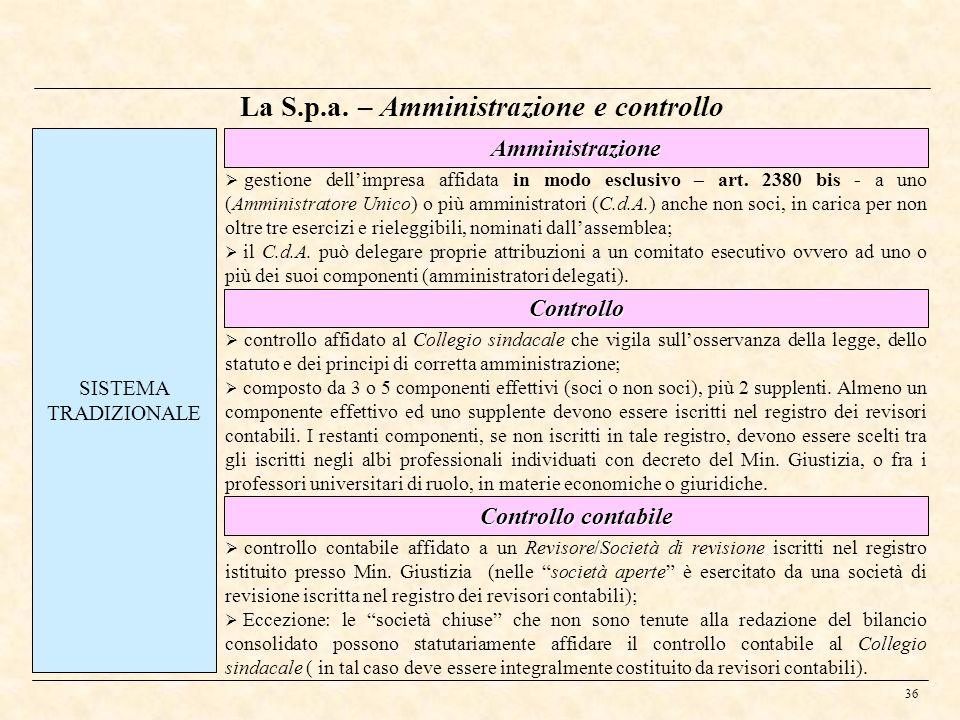 La S.p.a. – Amministrazione e controllo