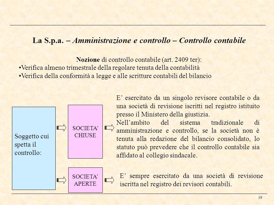 La S.p.a. – Amministrazione e controllo – Controllo contabile