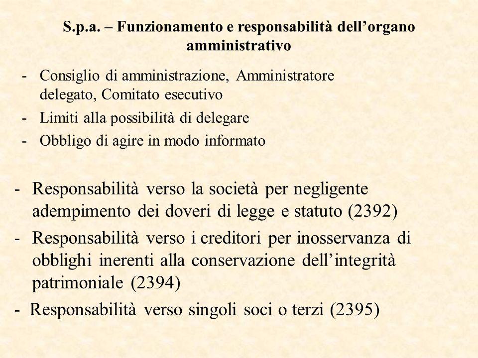 S.p.a. – Funzionamento e responsabilità dell'organo amministrativo