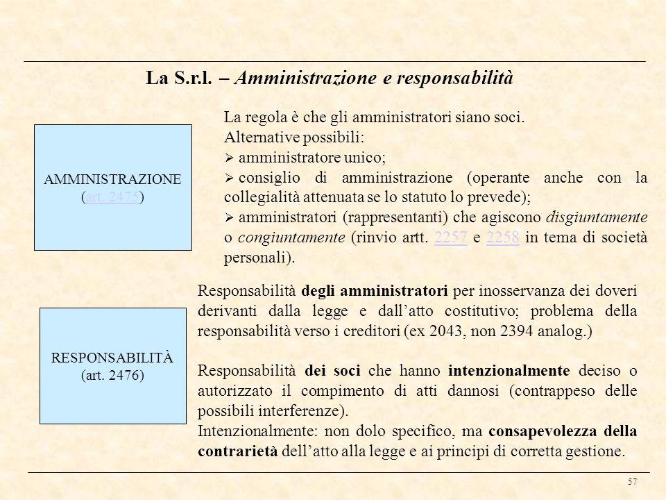 La S.r.l. – Amministrazione e responsabilità