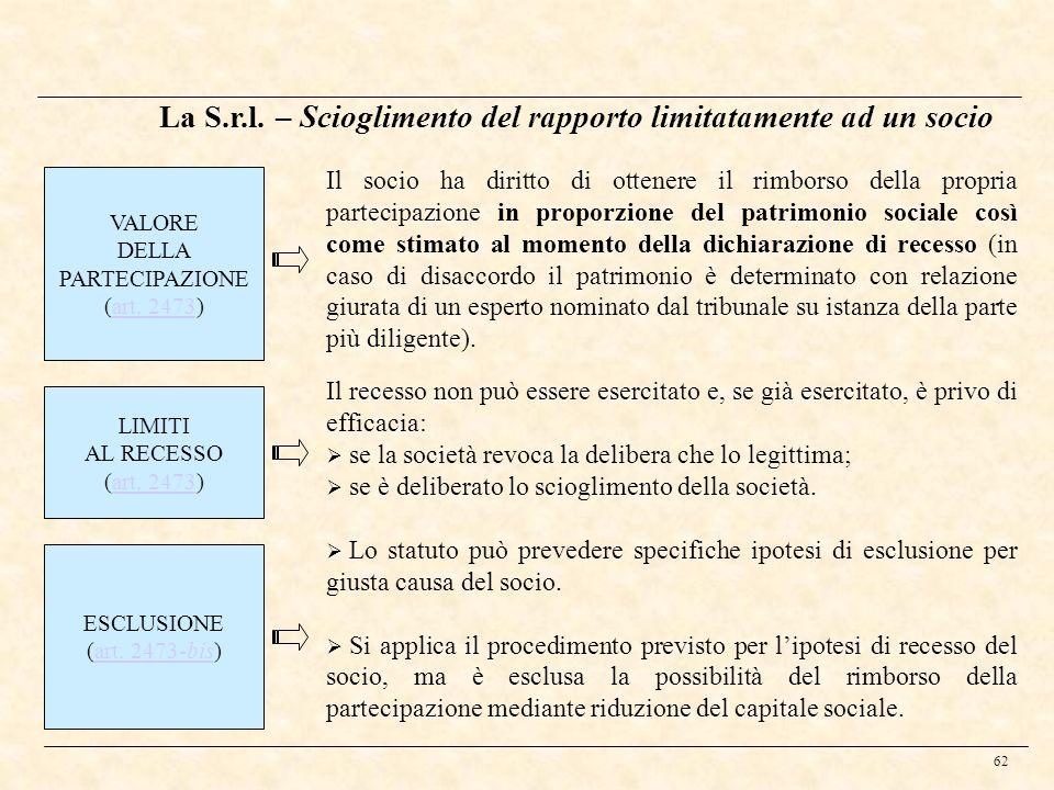 La S.r.l. – Scioglimento del rapporto limitatamente ad un socio