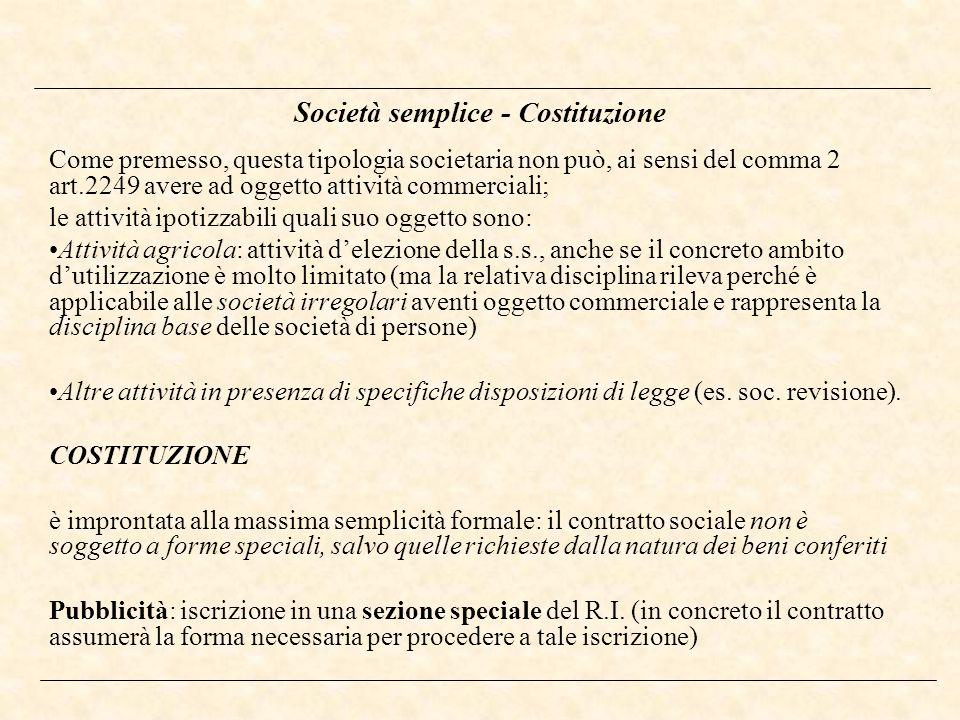Società semplice - Costituzione