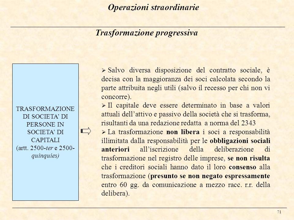 Operazioni straordinarie Trasformazione progressiva