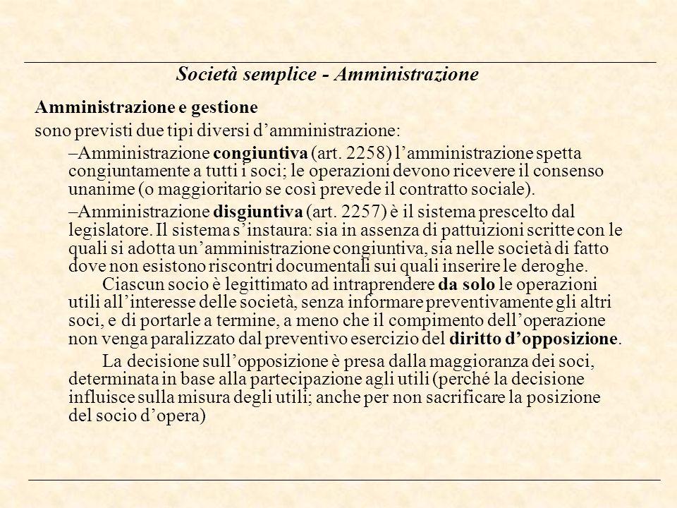 Società semplice - Amministrazione
