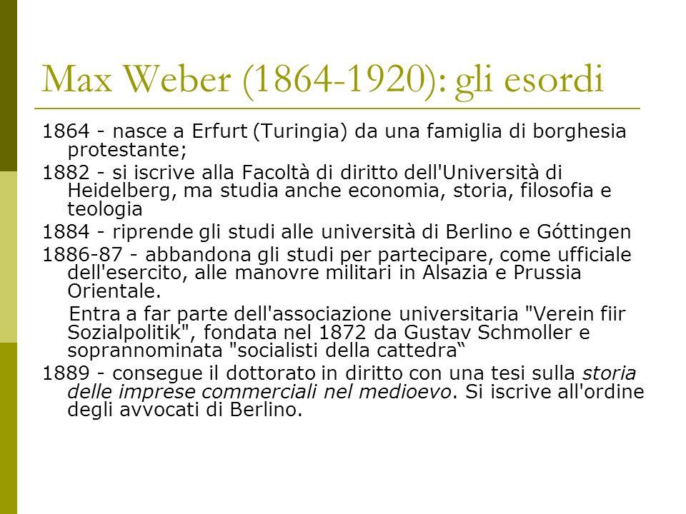 Max Weber (1864-1920): gli esordi