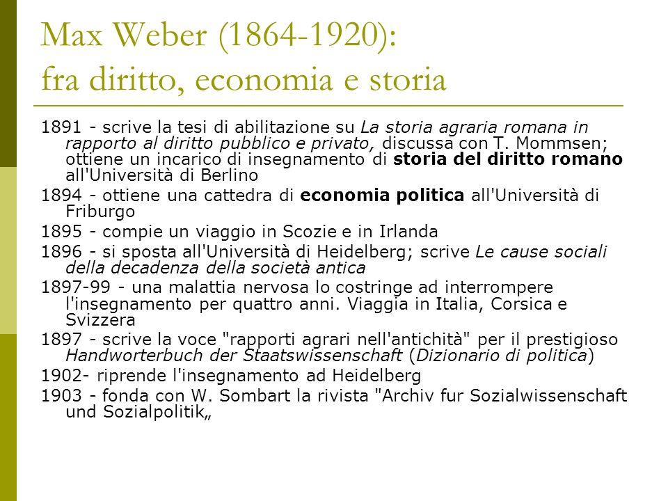 Max Weber (1864-1920): fra diritto, economia e storia