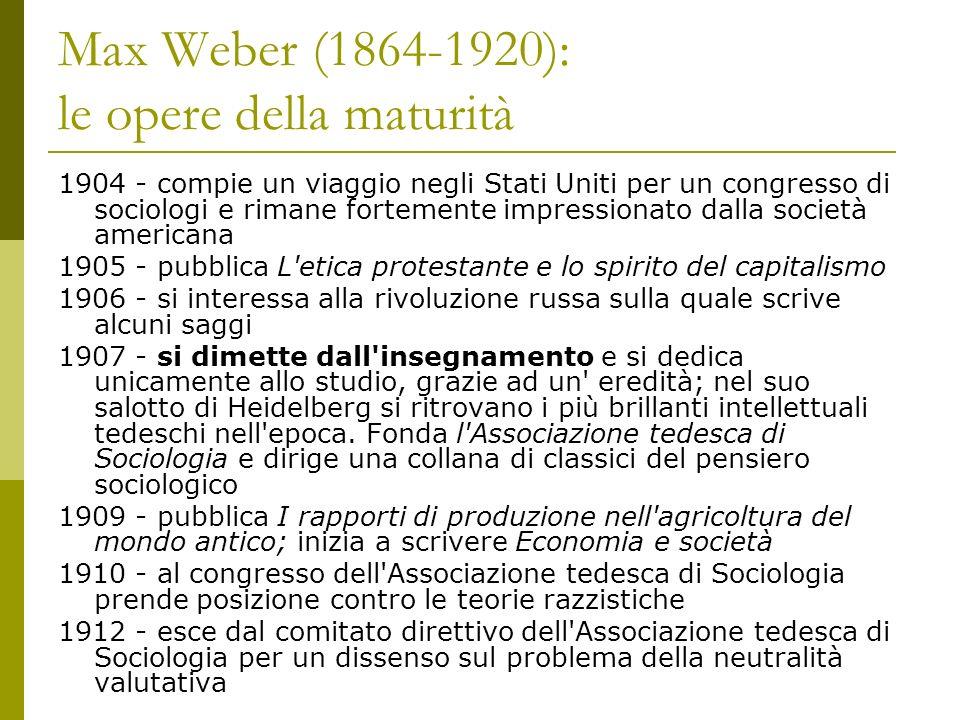 Max Weber (1864-1920): le opere della maturità