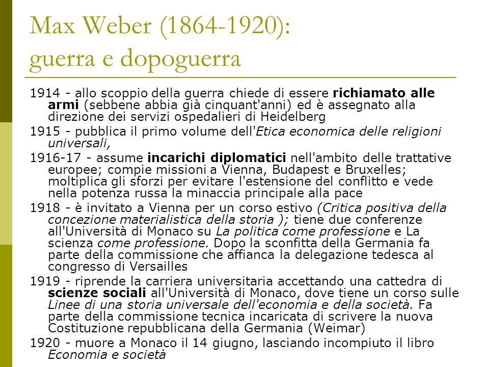 Max Weber (1864-1920): guerra e dopoguerra